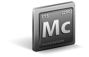 elemento chimico moscovio. simbolo chimico con numero atomico e massa atomica.