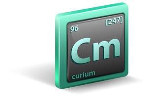 elemento chimico curio. simbolo chimico con numero atomico e massa atomica.