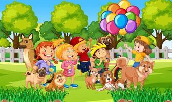 parco scena all'aperto con molti bambini e il loro animale domestico vettore