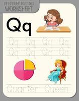 foglio di lavoro per tracciare l'alfabeto con le lettere q e q vettore
