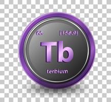 elemento chimico terbio. simbolo chimico con numero atomico e massa atomica.