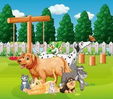 gruppo di animali domestici nella scena del plaground vettore