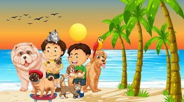scena all'aperto sulla spiaggia al tramonto con un gruppo di animali domestici e bambini vettore