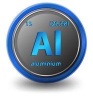 elemento chimico in alluminio. simbolo chimico con numero atomico e massa atomica. vettore