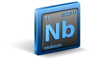 elemento chimico del niobio. simbolo chimico con numero atomico e massa atomica.