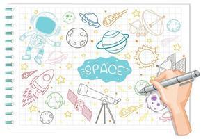mano disegno elemento spazio doodle su carta vettore