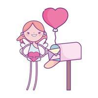 buon san valentino, cupido con il fumetto del palloncino della carta della cassetta postale del cuore