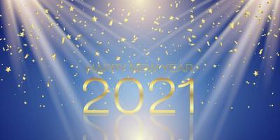 banner di felice anno nuovo con design di coriandoli d'oro vettore