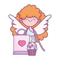 buon san valentino, cupido con torta e borsa regalo