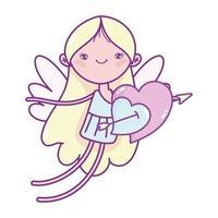 felice giorno di san valentino, cupido con amore cuori trafitto freccia cartone animato vettore