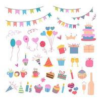 set di elementi di festa di compleanno di vettore