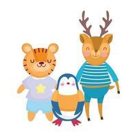 torna a scuola, cervo tigre pinguino con cartoni animati di vestiti