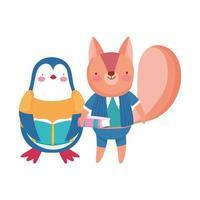 torna a scuola, pinguino scoiattolo con cartoni animati di libri