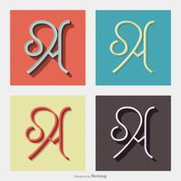 Caratteri di vettore di retro di tipografia di lettera A
