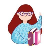 giovane donna che indossa occhiali e libri di letteratura, giornata del libro