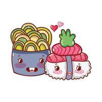 kawaii sushi e insalata di salmone wasabi cibo giapponese cartone animato, sushi e panini