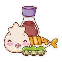 kawaii gnocchi sake tempura piselli cibo giapponese cartone animato, sushi e panini
