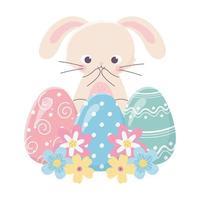 felice giorno di pasqua, simpatico coniglio uova delicate fiori