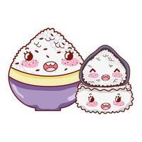 ciotola di riso kawaii rotoli cibo cartone animato giapponese, sushi e panini