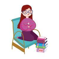 giovane donna che indossa occhiali con libri impilati nel pavimento, giornata del libro
