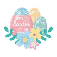 felice giorno di pasqua, scritte in uovo e foglie decorative di fiori di uova