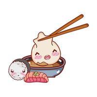 kawaii con gnocco in salsa di riso e cibo per pesci cartone animato giapponese, sushi e panini