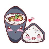 Temaki kawaii e rotolo di riso amano il cibo cartone animato giapponese, sushi e panini