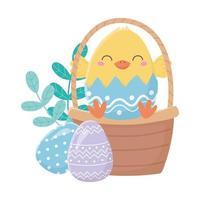 felice giorno di pasqua, pollo nella decorazione delle uova del cestino del guscio d'uovo