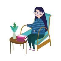 giovane donna seduta al tavolo della sedia con piante di libri in decorazione vaso, giorno del libro