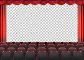 tende rosse in teatro con sfondo trasparente vettore