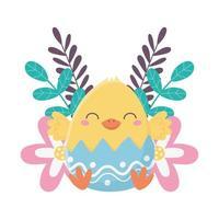 felice giorno di pasqua, pollo con decorazione di fiori di guscio d'uovo