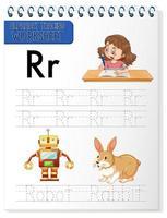 foglio di lavoro per tracciare l'alfabeto con le lettere r e r vettore