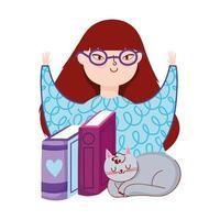 giovane donna con occhiali libri e gatto grigio, giorno del libro