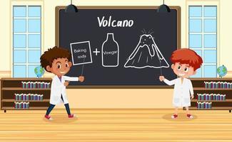 giovane scienziato che spiega l'esperimento del vulcano davanti a una tavola in laboratorio vettore