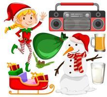insieme di oggetti di Natale isolati su sfondo bianco vettore