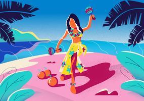 Ragazza polinesiana della festa di compleanno che gioca l'illustrazione di vettore di maracas