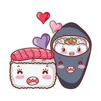kawaii sushi e temaki cibo giapponese cartone animato, sushi e panini