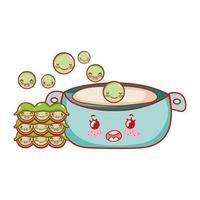 piselli in pentola cibo kawaii cartone animato giapponese, sushi e panini vettore
