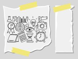 diversi tratti di doodle sulle attrezzature scolastiche su un foglio con carta bianca