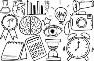 diversi tratti di doodle su materiale scolastico isolato su sfondo bianco