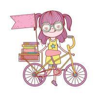 ragazza carina con libri in bici con bandiera cartoon