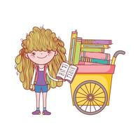 libro di lettura ragazza carina e carrello con molti libri