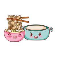 spaghetti kawaii in zuppa e cibo in pentola cartone animato giapponese, sushi e panini