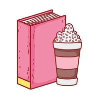 libro e tazza di frullato leggere icona isolata