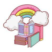libro aperto in libri impilati rainbow sun cartoon