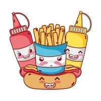 fast food carino patatine fritte hot dog senape e salsa cartone animato