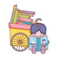 ragazzo seduto leggendo il libro pirati e carretto con i libri