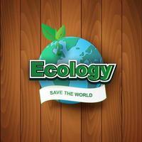 ecologia salva l'etichetta del mondo con la terra su fondo di legno vettore