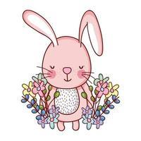 simpatici animali, piccoli fiori di coniglio foglie fogliame cartone animato vettore