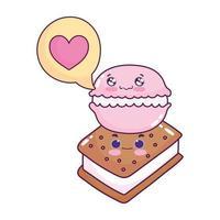 carino cibo gelato amaretto amore cuore dolce dessert pasticceria cartone animato isolato design vettore